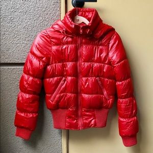 Only red puffer hooded jacket